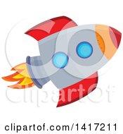 Clipart Of A Flying Rocket Royalty Free Vector Illustration by visekart