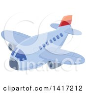 Clipart Of A Flying Airliner Royalty Free Vector Illustration by visekart