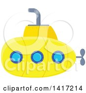 Clipart Of A Yellow Submarine Royalty Free Vector Illustration