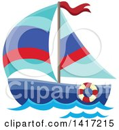 Clipart Of A Sailboat Royalty Free Vector Illustration by visekart