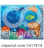 Clipart Of A Sunken Ship Near A Reef With Fish And An Eel Royalty Free Vector Illustration