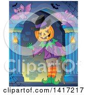 Clipart Of A Halloween Pumpkin Headed Jack Man Waving In A Hallway Royalty Free Vector Illustration by visekart
