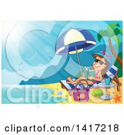 Clipart Of A Happy Girl Reading A Book And Sun Bathing On A Beach Royalty Free Vector Illustration by visekart