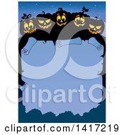 Clipart Of A Border Of Halloween Jackolantern Pumpkins Over A Blank Scroll Royalty Free Vector Illustration