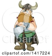 Clipart Of A Cartoon Happy Chubby Male Viking Warrior Resting On An Axe Royalty Free Vector Illustration