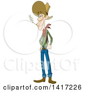 Clipart Of A Cartoon Skinny White Male Ranger Chewing On Straw Royalty Free Vector Illustration