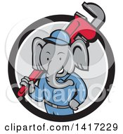 Clipart Of A Retro Cartoon Elephant Man Plumber Holding A Giant Monkey Wrench Emerging From A Black White And Gray Circle Royalty Free Vector Illustration