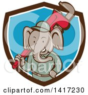 Clipart Of A Retro Cartoon Elephant Man Plumber Holding A Giant Monkey Wrench Emerging From A Brown White And Blue Shield Royalty Free Vector Illustration