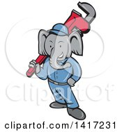 Clipart Of A Retro Cartoon Elephant Man Plumber Holding A Giant Monkey Wrench Royalty Free Vector Illustration by patrimonio