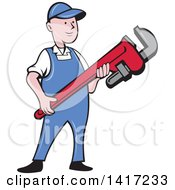 Clipart Of A Retro Cartoon White Male Plumber Or Handy Man Holding A Giant Monkey Wrench Royalty Free Vector Illustration