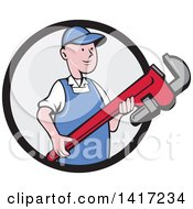 Clipart Of A Retro Cartoon White Male Plumber Or Handy Man Holding A Giant Monkey Wrench Emerging From A Black And Gray Circle Royalty Free Vector Illustration