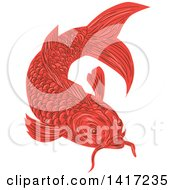 Clipart Of A Sketched Red Swimming Koi Fish Royalty Free Vector Illustration