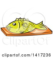 Clipart Of A Cartoon Fish On A Chopping Board Royalty Free Vector Illustration