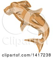Clipart Of A Sketched Brown Hammerhead Shark Royalty Free Vector Illustration