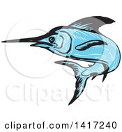 Clipart Of A Sketched Blue Marlin Fish Leaping Royalty Free Vector Illustration