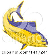 Clipart Of A Sketched Albacore Tuna Fish Royalty Free Vector Illustration
