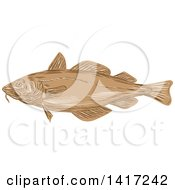 Clipart Of A Sketched Atlantic Cod Fish Royalty Free Vector Illustration