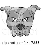 Clipart Of A Grayscale Angry Bulldog Face Royalty Free Vector Illustration