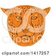 Clipart Of A Sketched Cheetah Face Royalty Free Vector Illustration