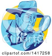 Clipart Of A Sketched Male Detective Looking Through A Magnifying Glass Royalty Free Vector Illustration by patrimonio