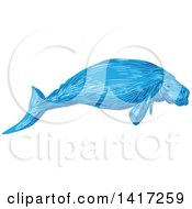 Clipart Of A Sketched Blue Dugong Royalty Free Vector Illustration by patrimonio