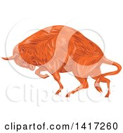 Clipart Of A Sketched Angry Charging European Bison Royalty Free Vector Illustration by patrimonio