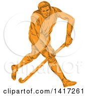 Clipart Of A Sketched Orange Male Field Hockey Player Royalty Free Vector Illustration by patrimonio