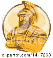 Clipart Of A Sketch Of Agamemnon King Of Mycenae With Folded Arms In A Circle Royalty Free Vector Illustration