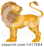 Clipart Of A Sketched Male Lion Looking Back Over His Shoulder Royalty Free Vector Illustration