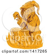 Clipart Of A Sketched Orange Witch Stirring Her Brew In A Cauldron Royalty Free Vector Illustration