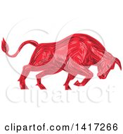 Clipart Of A Sketched Angry Red Bull Charging Royalty Free Vector Illustration