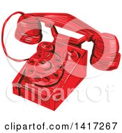 Clipart Of A Sketched Red Vintage Telephone Royalty Free Vector Illustration