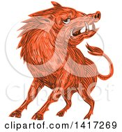 Clipart Of A Sketched Angry Razorback Boar Royalty Free Vector Illustration