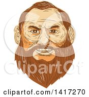 Clipart Of A Sketched Man With A Big Beard Royalty Free Vector Illustration