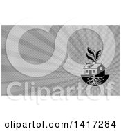 Clipart Of A House With Roots And Leaves Through The Chimney And Gray Rays Background Or Business Card Design Royalty Free Illustration by patrimonio