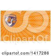 Clipart Of A Retro Pelican Bird Holding A Basketball And Orange Rays Background Or Business Card Design Royalty Free Illustration by patrimonio