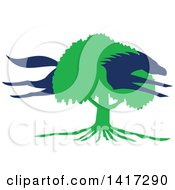 Clipart Of A Blue Silhouetted Horse Leaping Through A Green Oak Tree Royalty Free Vector Illustration