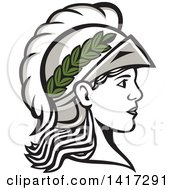 Profile Portrait Of The Roman Goddess Of Wisdom Minerva Or Menrva Wearing A Helmet And Laurel Crown