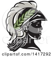Clipart Of A Profile Portrait Of The Roman Goddess Of Wisdom Minerva Or Menrva Wearing A Helmet And Laurel Crown Royalty Free Vector Illustration by patrimonio