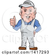 Poster, Art Print Of Cartoon Male Oven Cleaner Technician In Overalls Giving A Thumb Up