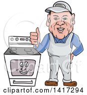 Clipart Of A Cartoon Male Oven Cleaner Technician Standing By A Range And Giving A Thumb Up Royalty Free Vector Illustration