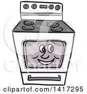 Clipart Of A Cartoon Happy Oven Range Character Royalty Free Vector Illustration