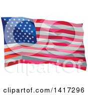 Clipart Of A Low Polygon Style Waving American Flag Royalty Free Vector Illustration