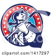 Clipart Of A Retro American Revolutionary Patriot Soldier Holding A Hockey Stick In A Circle Royalty Free Vector Illustration