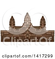 Clipart Of A Landmark Angkor Wat Ancient Temple In Cambodia Royalty Free Vector Illustration