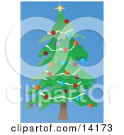 Christmas Tree Decorated With Colorful Bauble Ornaments Garland And A Star