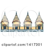 Clipart Of A Bangladesh Landmark Dhakeshwari National Temple Royalty Free Vector Illustration