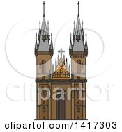 Clipart Of A Czech Landmark Church Of Mother Of God Royalty Free Vector Illustration