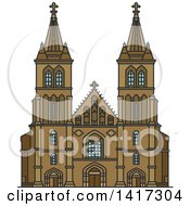Clipart Of A Czech Landmark Cathedral Of Saints Peter And Paul Royalty Free Vector Illustration