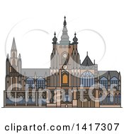 Clipart Of A Czech Landmark Saint Vitus Cathedral Royalty Free Vector Illustration